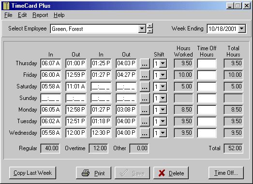 TimeCard Standard Screenshot