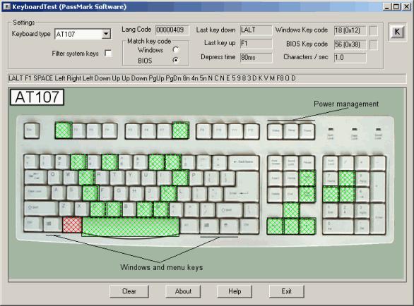 KeyboardTest Screenshot