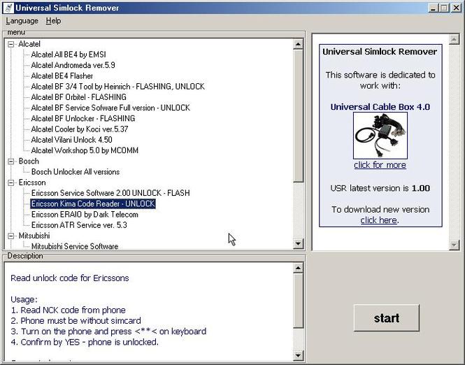 Universal Simlock Remover Screenshot