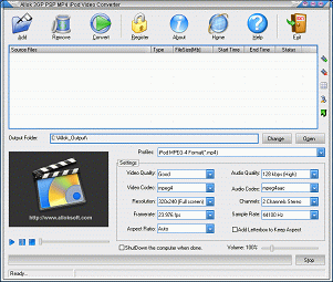 Allok 3GP PSP MP4 iPod Video Converter Screenshot