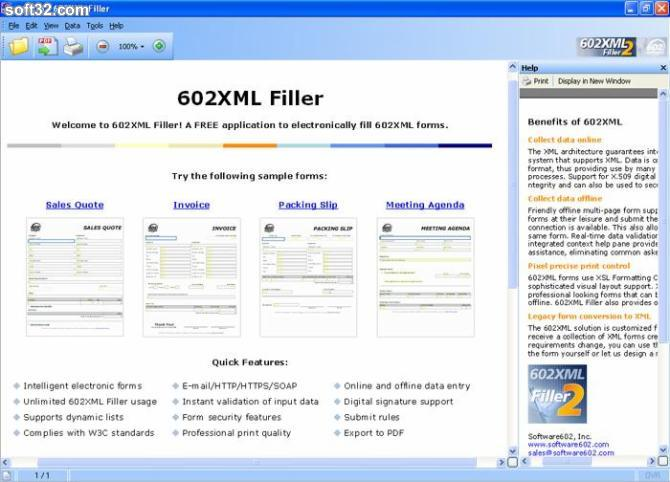 602XML Form Filler - Use 602XML Form Filler to fill XSL-FO based XML forms offline, save forms for later completion...
