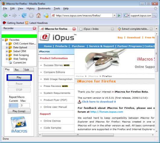 iMacros for Firefox Screenshot