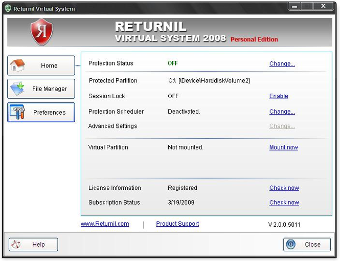 Returnil Virtual System 2008 Personal Screenshot