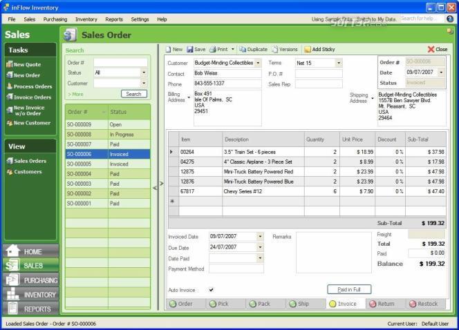 Программа ведет учет и обработку покупки, продажи, управляет инвентарем, фо
