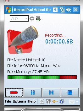 RecordPad Recorder Windows CE Screenshot