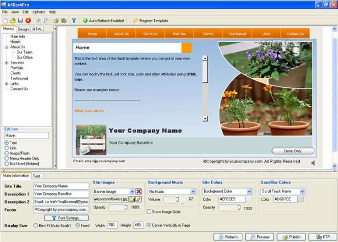 A4DeskPro Flash Web Site Builder 1.38. веб-сайтов на основе flash технологи