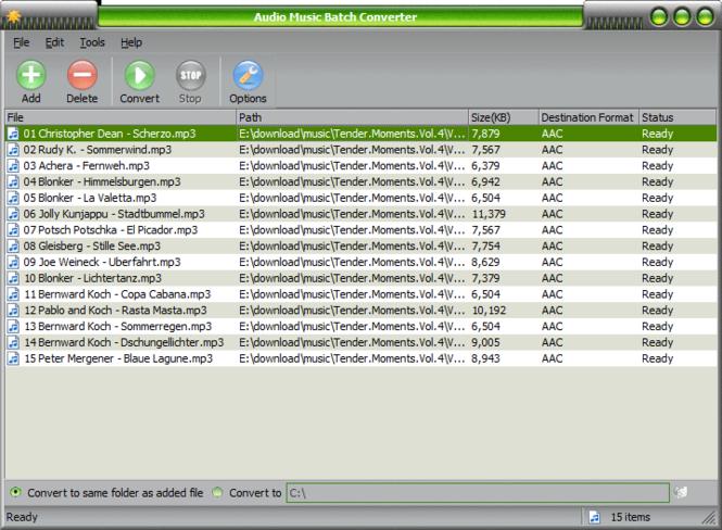 Скриншот Audio Music Batch Converter 3.0.3. screen Audio Music Batch Conver