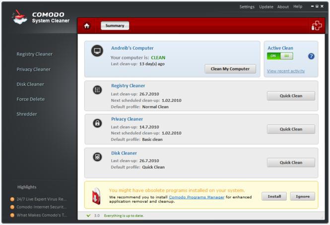 Comodo System-Cleaner Screenshot