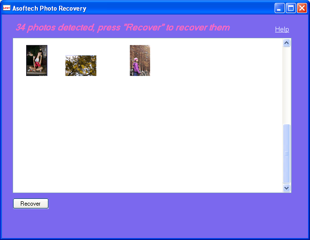 Asoftech Photo Recovery Screenshot