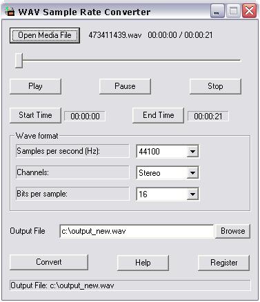 Wav Sample Rate Converter Screenshot