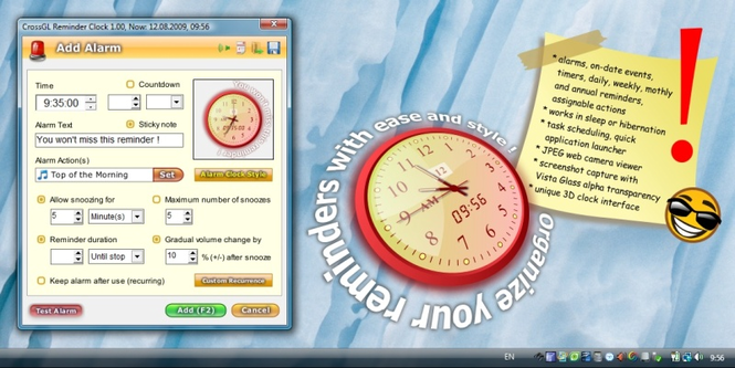 CrossGL Reminder Clock Screenshot