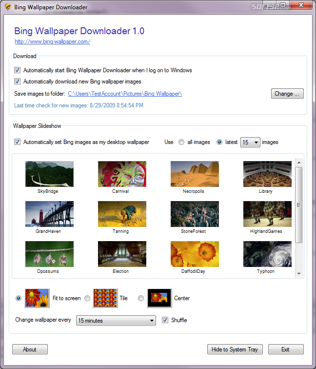 Bing Wallpaper Downloader Screenshot