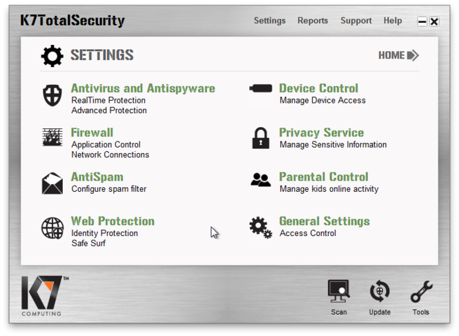 K7 TotalSecurity Screenshot