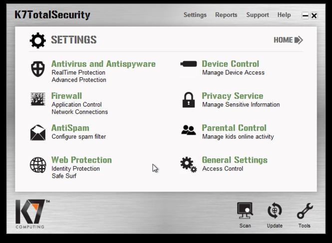 K7 TotalSecurity Screenshot