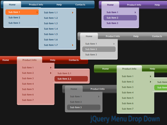 jQuery Menu Drop Down Style 04 Screenshot