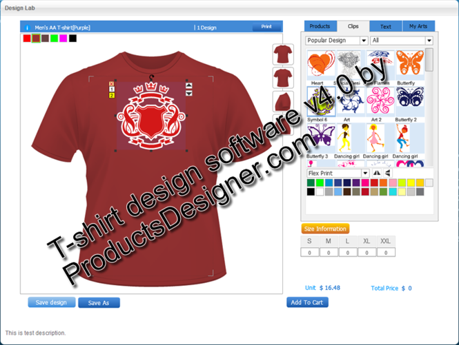 Flash TShirt Design Software Screenshot