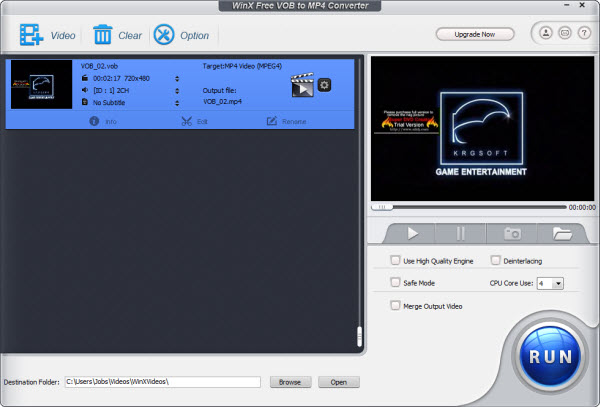 WinX Free VOB to MP4 Converter Screenshot