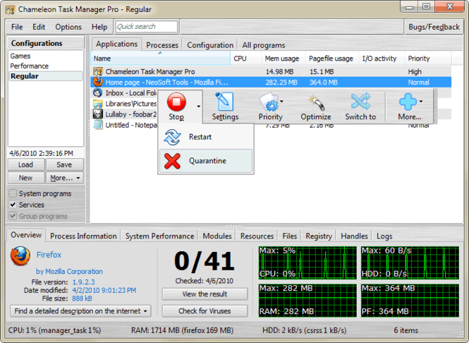 Chameleon Task Manager Screenshot