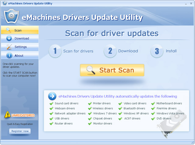 eMachines Drivers Update Utility Screenshot