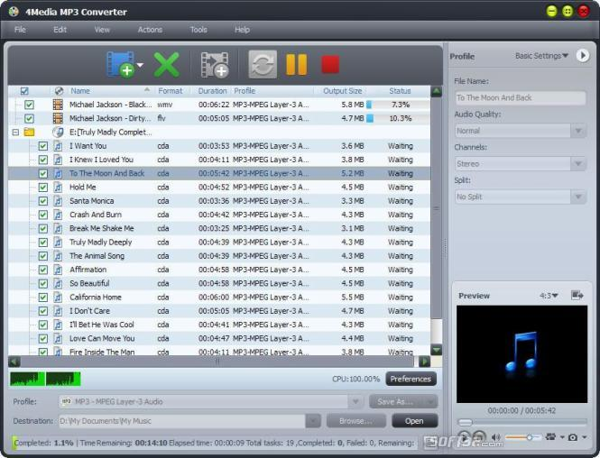 4Media MP3 Converter - скачать конвертер WAV, MP3, WMA, OGG, AAC, FLAC,