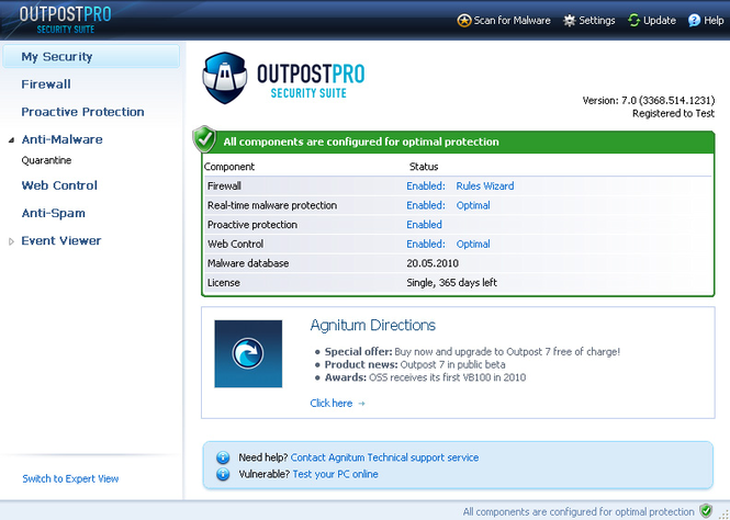 Скачать программу Agnitum Outpost Security Suite Pro, 7.0.1.