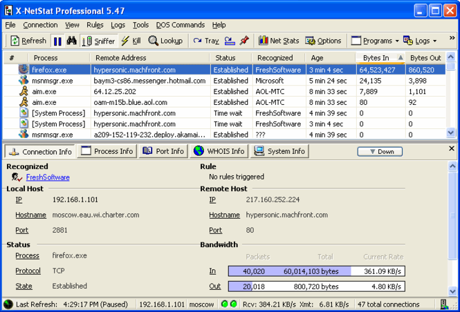 X-NetStat Professional Screenshot