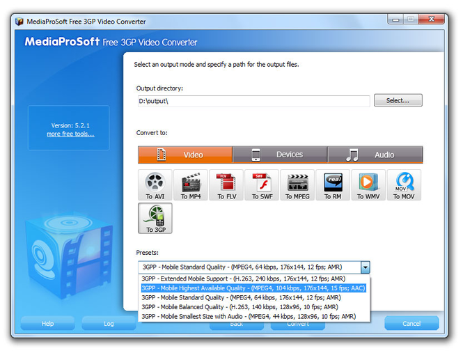 MediaProSoft Free 3GP Video Converter Screenshot
