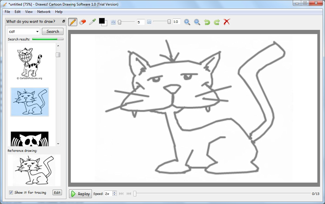 Screenshots of Drawez! Cartoon Drawing Software
