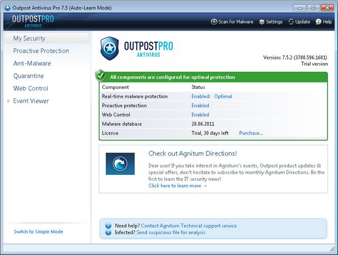 Agnitum Outpost Antivirus Pro 8.0 скриншот.