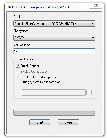HP USB Disk Storage Format Tool Screenshot