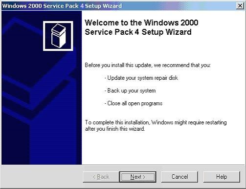Windows 2000 Service Pack 4 (SP4) Screenshot