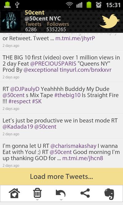 50 Cent Tweets Screenshot