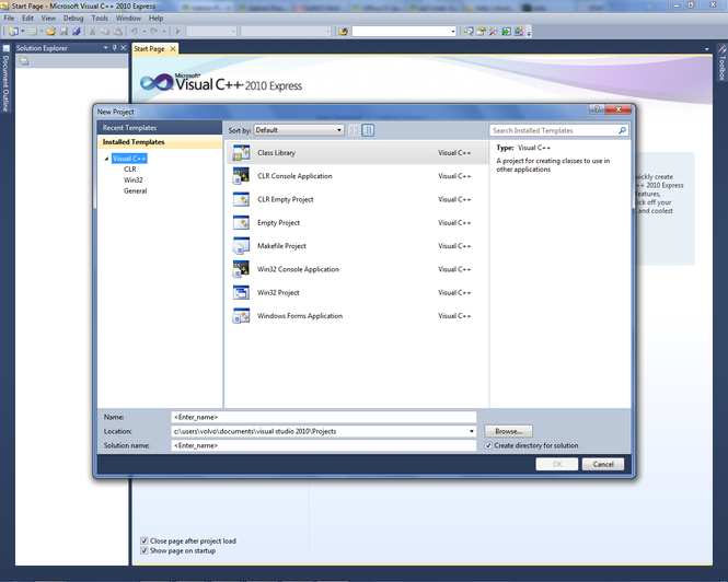 Microsoft Visual C++ 2010 Express Screenshot