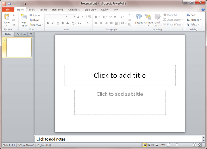 Microsoft PowerPoint 2010 Screenshot