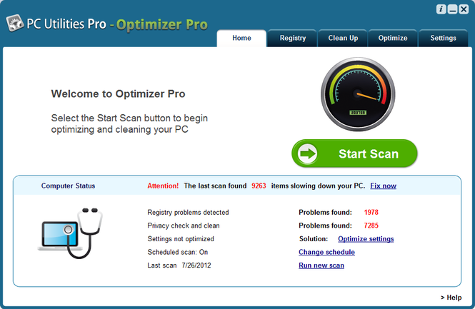 Screenshots of Optimizer Pro