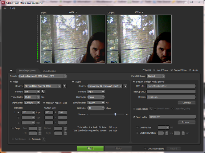 Adobe Flash Media Live Encoder Screenshot