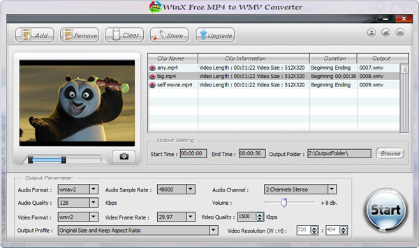 WinX Free MP4 to WMV Converter Screenshot