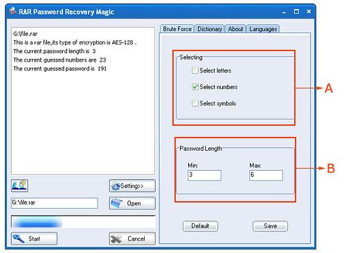 RAR Password Recovery Magic Screenshot