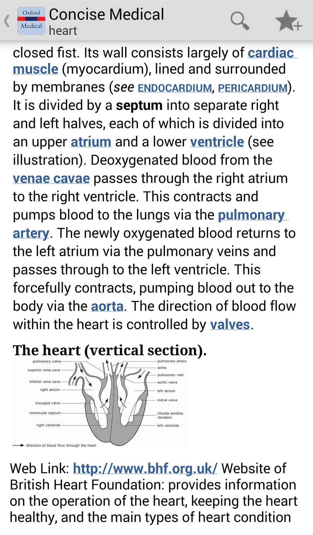 Oxford Concise Medical Dictionary Screenshot