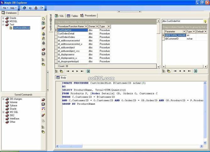 Подключается к любой базе данных через OLE DB (ADO) или драйвер ODBC. . Ра