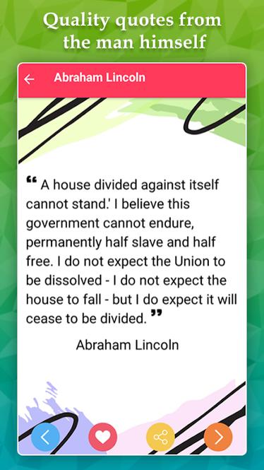 Abraham Lincoln Life Quotes Screenshot