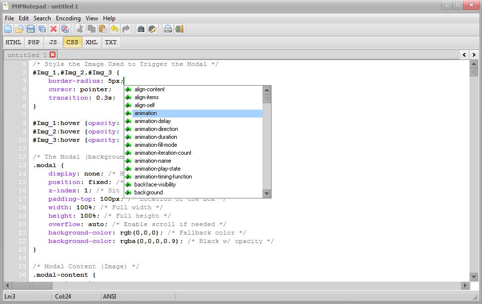 PHPNotepad Screenshot