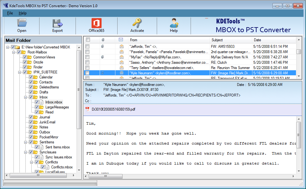MBOX to PST Converter Screenshot