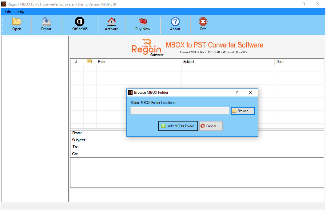 Regain MBOX File to PST Converter Screenshot