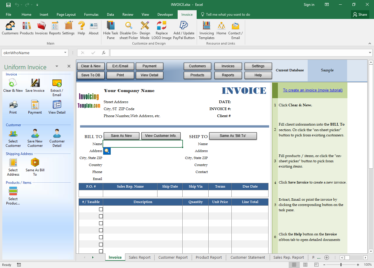 Invoice Manager for Excel Screenshot