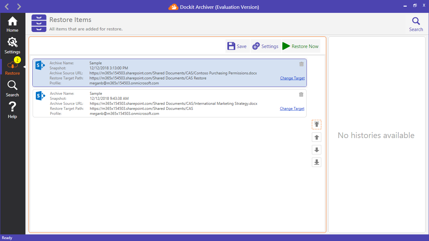 SharePoint Backup and Restore Tool Screenshot