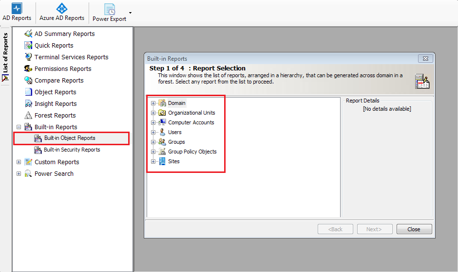 Active Directory Reporting Tool Screenshot