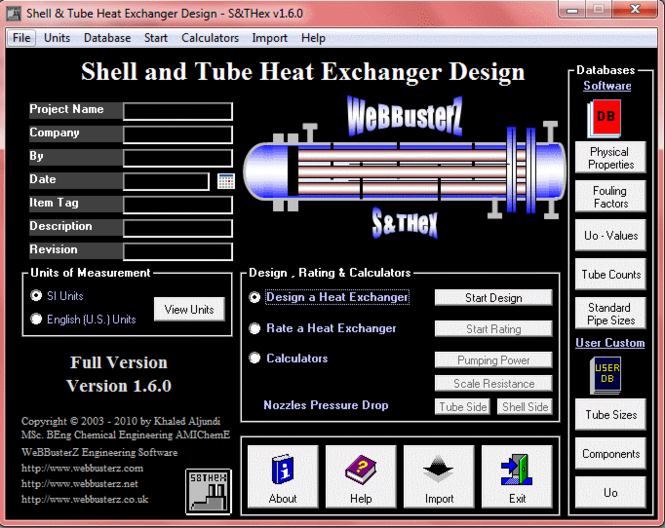 Shell and Tube Heat Exchanger Design Screenshot