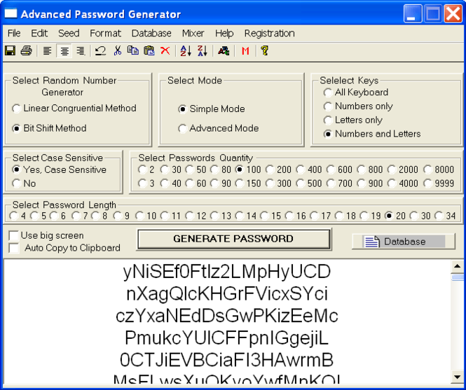 Advanced Password Generator Screenshot