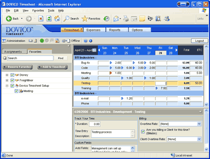 DOVICO Timesheet Screenshot